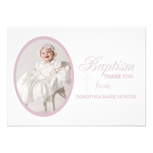 Baptism Word Pink Photo Thank You Notecard Personalized Announcements