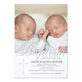Baptism Word Silver Photo Invitation