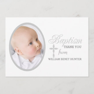 Baptism Word Silver Photo Thank You Notecard