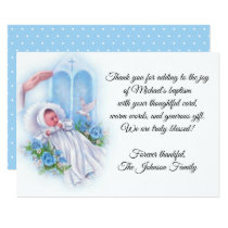 Baptismal Baby Boy Blue Flowers Thank You Card