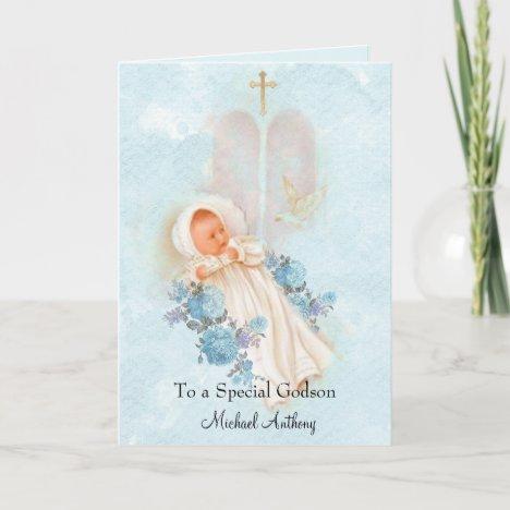 Baptismal Baby Boy Christening Godson Card