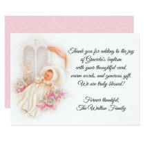 Baptismal Baby Girl Pink Flowers Thank You Card