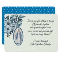 Baptismal Baby Virgin Mary Blue Flowers Invitation