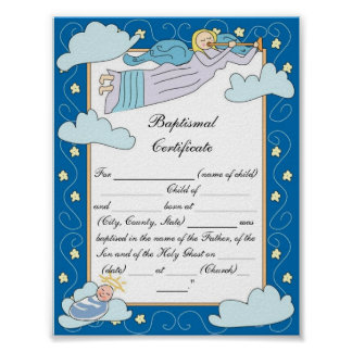 Baptismal Certificate Poster