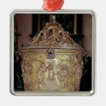 Baptismal font showing metal ornament