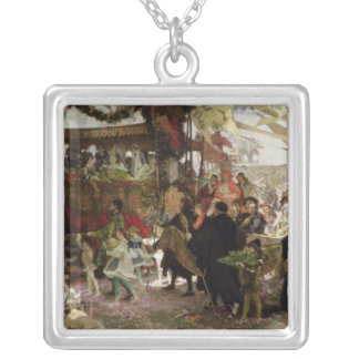 Baptismal Procession of Prince Juan in Seville Square Pendant Necklace
