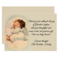 Baptismal Vintage Baby Girl Angel Thank You Card