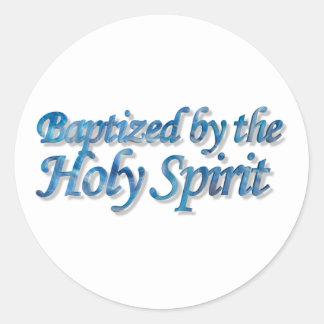 Baptized by the Holy Spirit Bleu 3D Pegatina Redonda