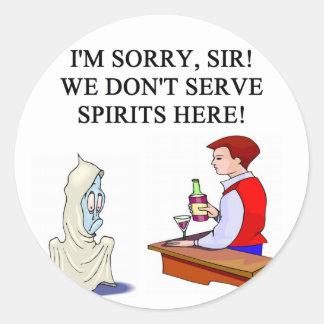 bar and drinking ghost joke classic round sticker