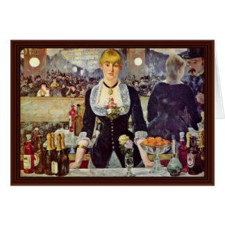 Bar At The Folies-Bergère,  By Manet Edouard Card