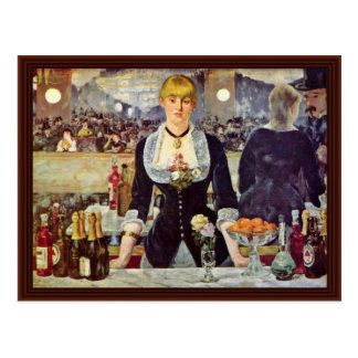 Bar At The Folies-Bergère,  By Manet Edouard Post Cards