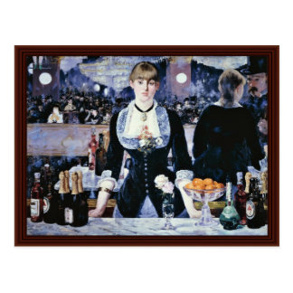 Bar At The Folies-Bergère,  By Manet Edouard Post Card