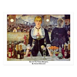 Bar At The Folies-Bergère,  By Manet Edouard Postcards