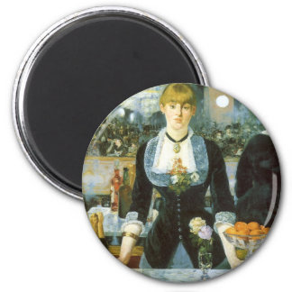 Bar at the Folies Bergere by Manet, Vintage Art 2 Inch Round Magnet