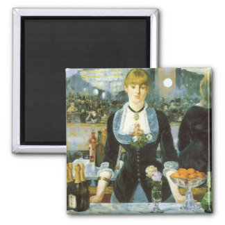 Bar at the Folies Bergere by Manet, Vintage Art 2 Inch Square Magnet