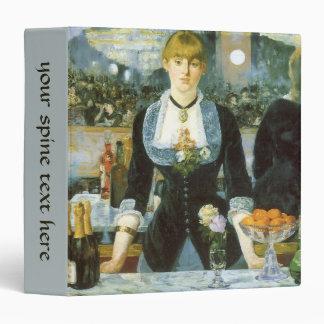 Bar at the Folies Bergere by Manet, Vintage Art 3 Ring Binder