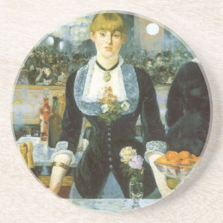 Bar at the Folies Bergere by Manet, Vintage Art Drink Coaster