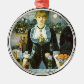 Bar at the Folies Bergere by Manet, Vintage Art Metal Ornament
