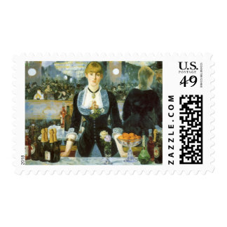 Bar at the Folies Bergere by Manet, Vintage Art Postage Stamp