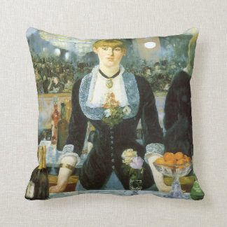 Bar at the Folies Bergere by Manet, Vintage Art Throw Pillow