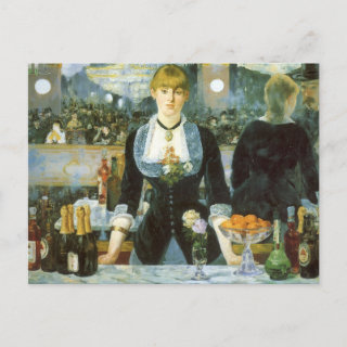 Bar at the Folies-Bergere, Manet, Vintage Fine Art Post Card