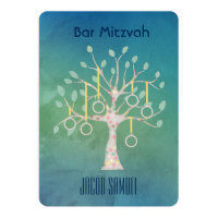 Bar Bat Bnai Tree of Life Mitzvah Watercolor Blue Card