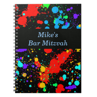 Bar, Bat Mitzvah Neon Paint Splatter Guest Book Spiral Notebook