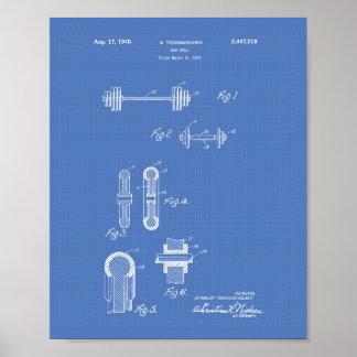 Bar Bell 1948 Patent Art Blueprint Poster