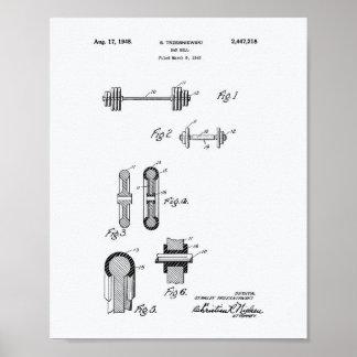 Bar Bell 1948 Patent Art White Paper Poster