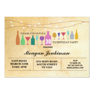 Bar Birthday Party Cocktails Drinks Vintage Invite
