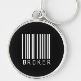 BAR BROKER DARK Silver-Colored ROUND KEYCHAIN