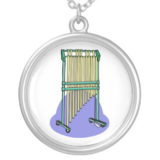 Bar Chimes Orchestral Blue Blob behind Personalized Necklace
