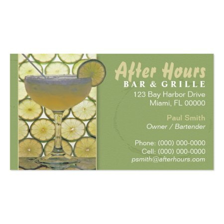 Margarita Glass with Lime Slice and Light Green Background Stylish Bar and Grill Business Cards