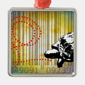 Bar Code Art Design Vector Fun Color Square Metal Christmas Ornament
