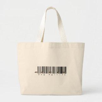 Bar Code Dog Agility weave Large Tote Bag