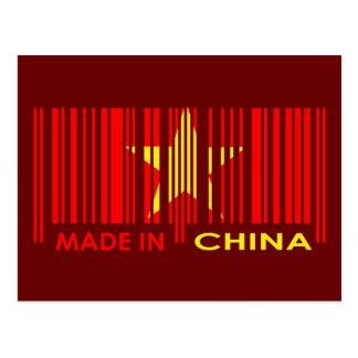 Bar Code Flag Colors CHINA Dark Design Postcard