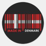 Bar Code Flag Colors DENMARK Design Classic Round Sticker