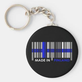 Bar Code Flag Colors FINLAND Design Basic Round Button Keychain