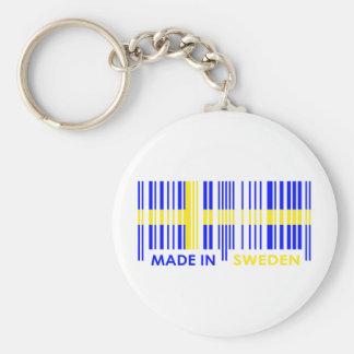 Bar Code Flag Colors SWEDEN Design Basic Round Button Keychain