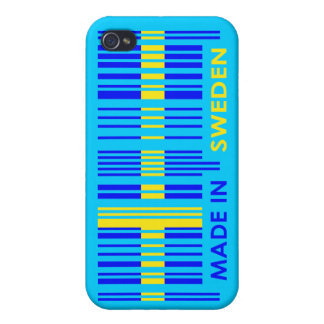 Bar Code Flag Colors SWEDEN Design iPhone 4/4S Cases