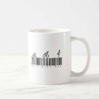 Bar Code Swim Bike Run Coffee Mug