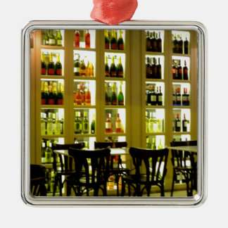 Bar de vinos adorno navideño cuadrado de metal