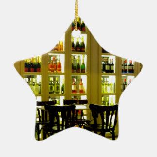 Bar de vinos adorno navideño de cerámica en forma de estrella
