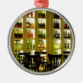 Bar de vinos adorno navideño redondo de metal