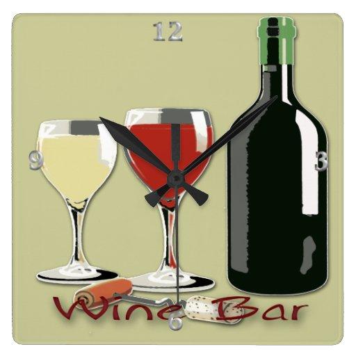 Bar de vinos - reloj de pared cuadrado del vino