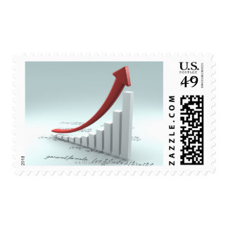 Bar graph and arrow with formula postage stamp