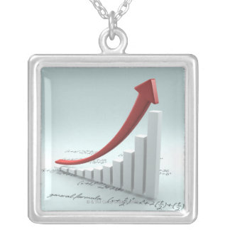 Bar graph and arrow with formula silver plated necklace