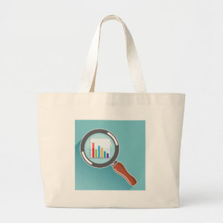Bar Graph in Magnifying Glass Large Tote Bag