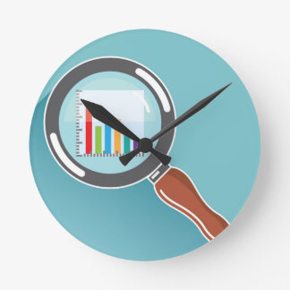 Bar Graph in Magnifying Glass Round Clock