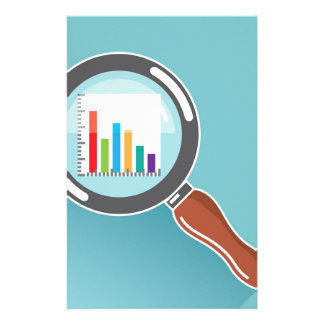 Bar Graph in Magnifying Glass Stationery